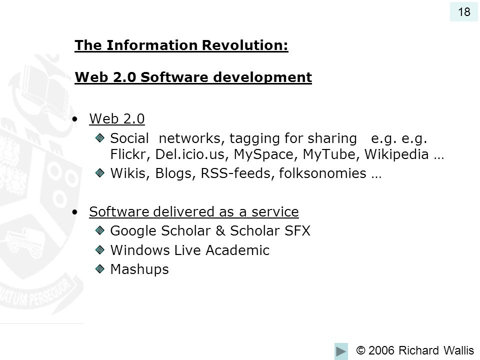The Information Revolution: Web 2.0 Software development