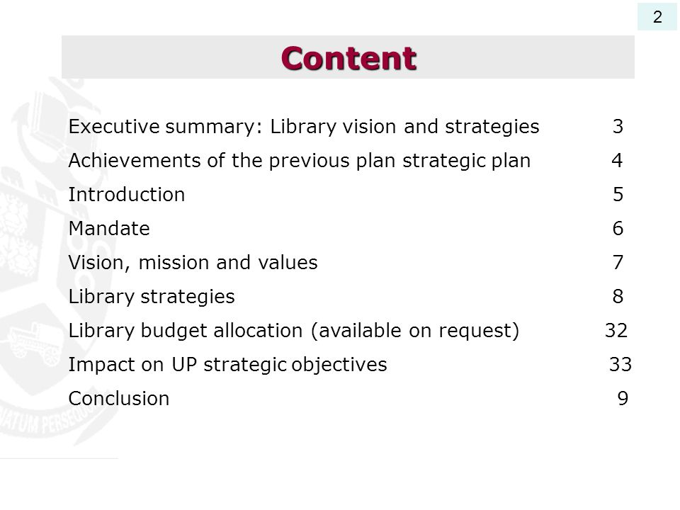 Content Executive summary: Library vision and strategies 3
