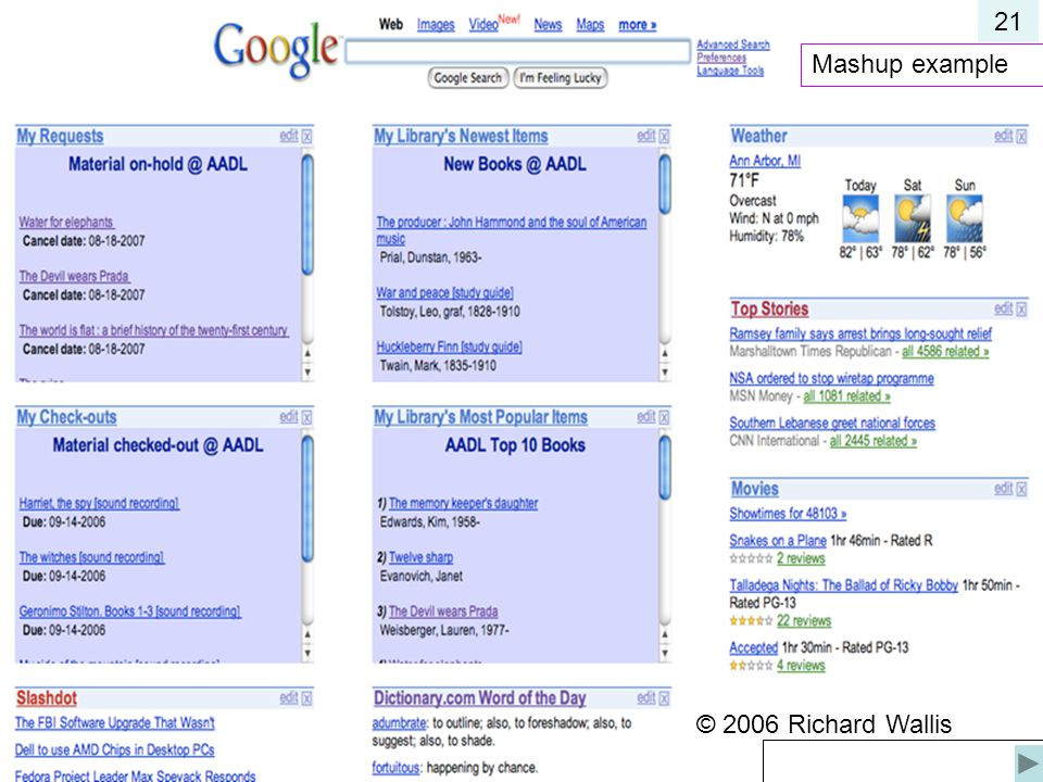 21 Mashup example © 2006 Richard Wallis © 2006 Richard Wallis