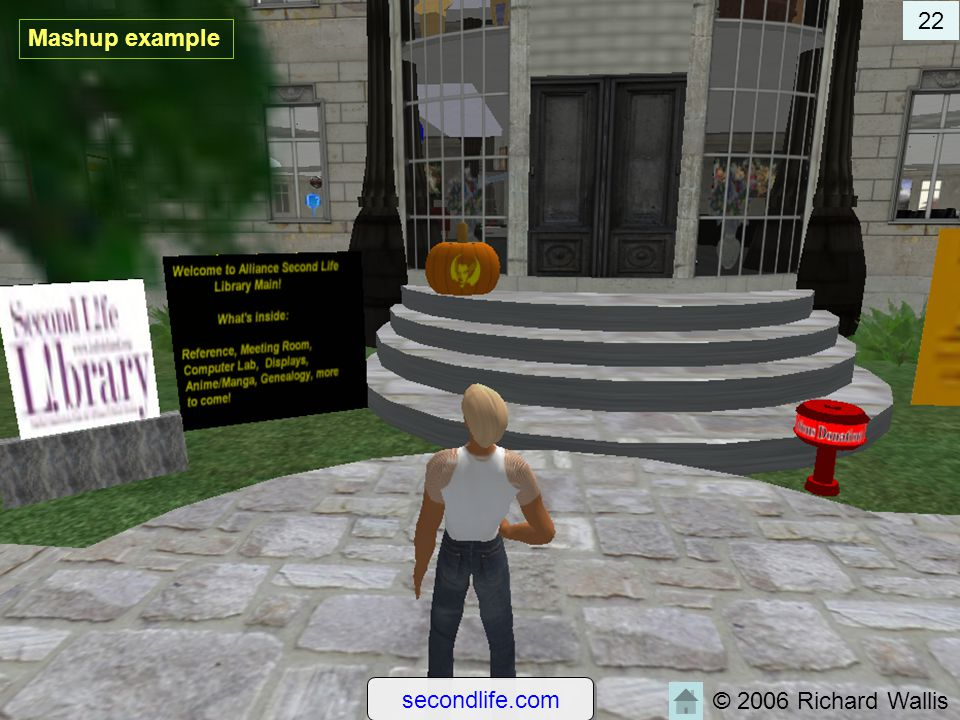 22 Mashup example secondlife.com © 2006 Richard Wallis
