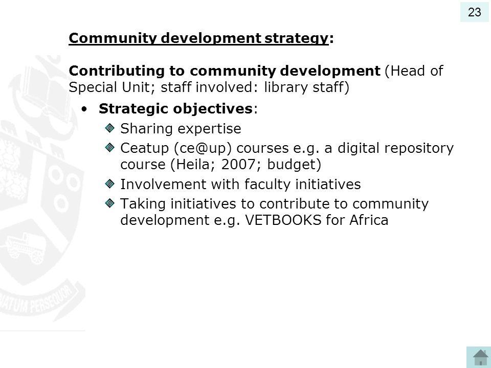 Strategic objectives: Sharing expertise