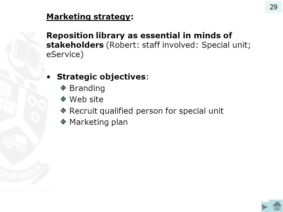 Strategic objectives: Branding Web site