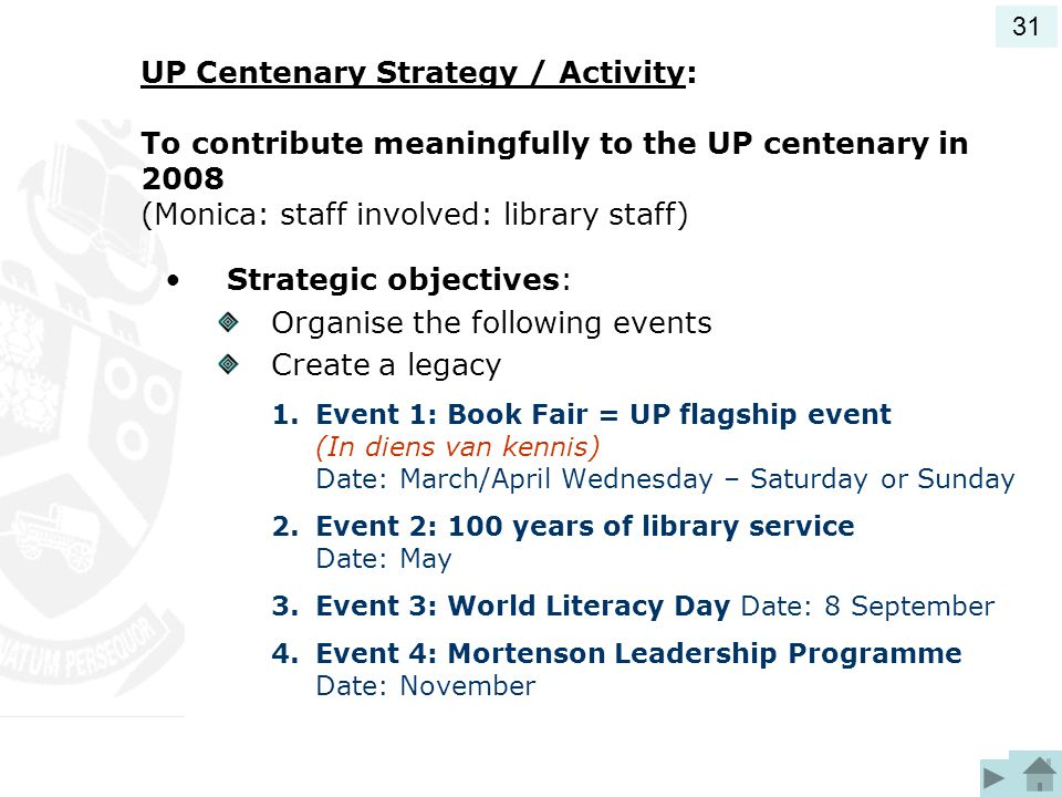 Strategic objectives: Organise the following events Create a legacy