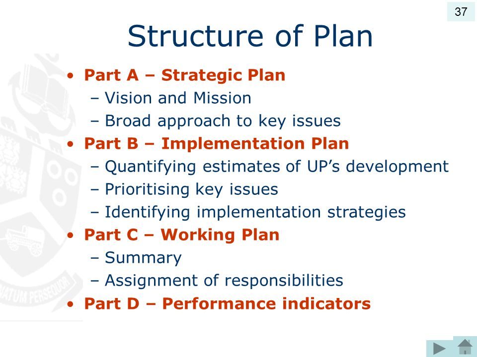 Structure of Plan Part A – Strategic Plan Vision and Mission