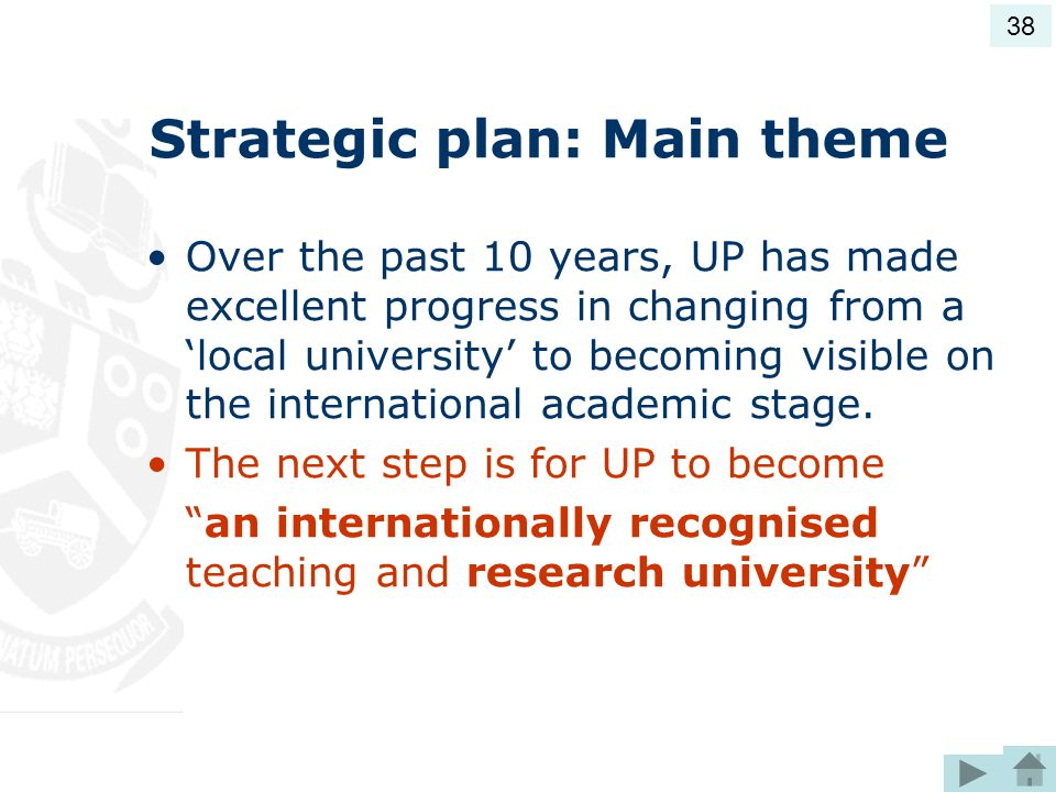 Strategic plan: Main theme