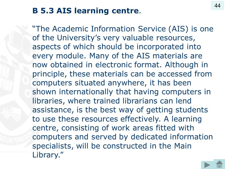 44 B 5.3 AIS learning centre.