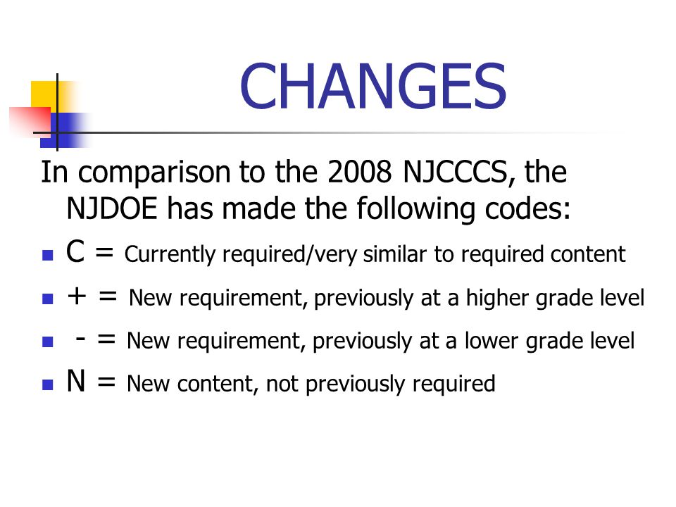 CHANGES In comparison to the 2008 NJCCCS, the NJDOE has made the following codes: C = Currently required/very similar to required content.
