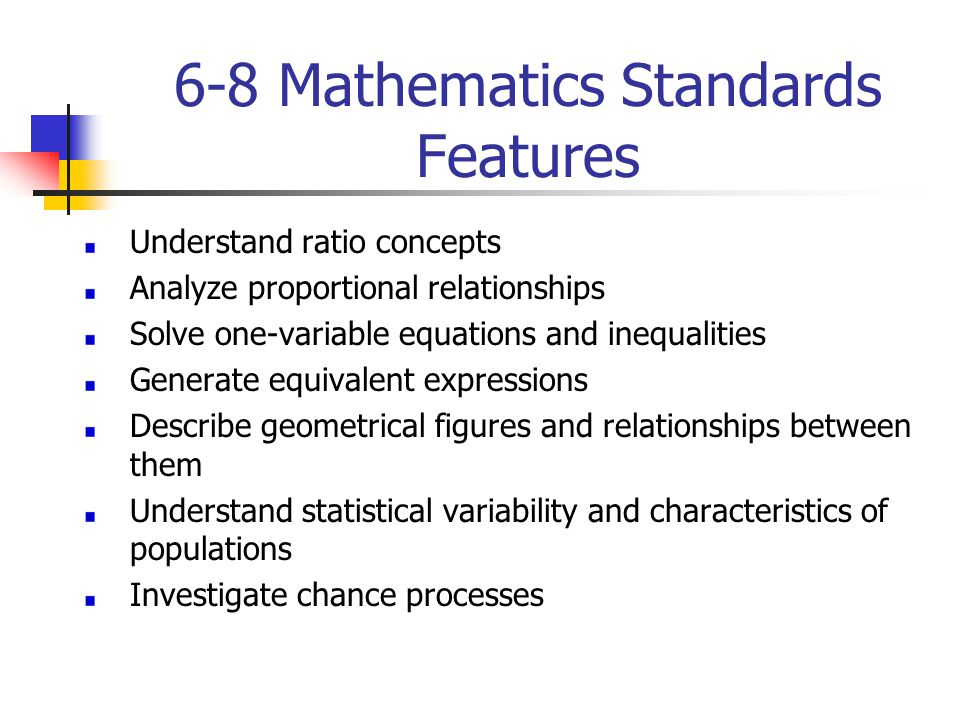 6-8 Mathematics Standards Features