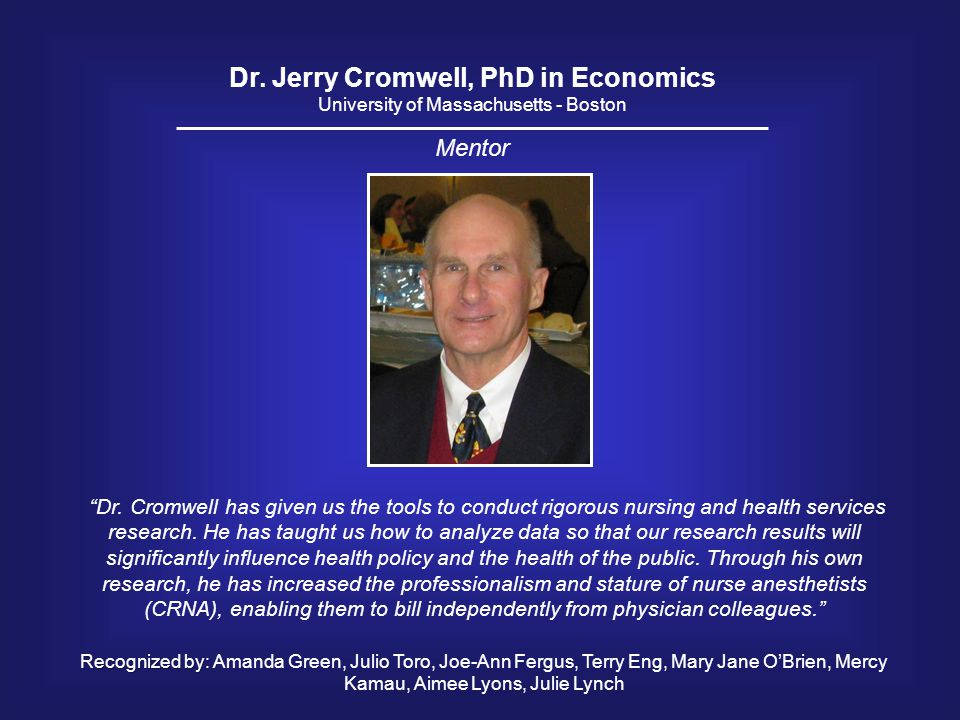 Dr. Jerry Cromwell, PhD in Economics