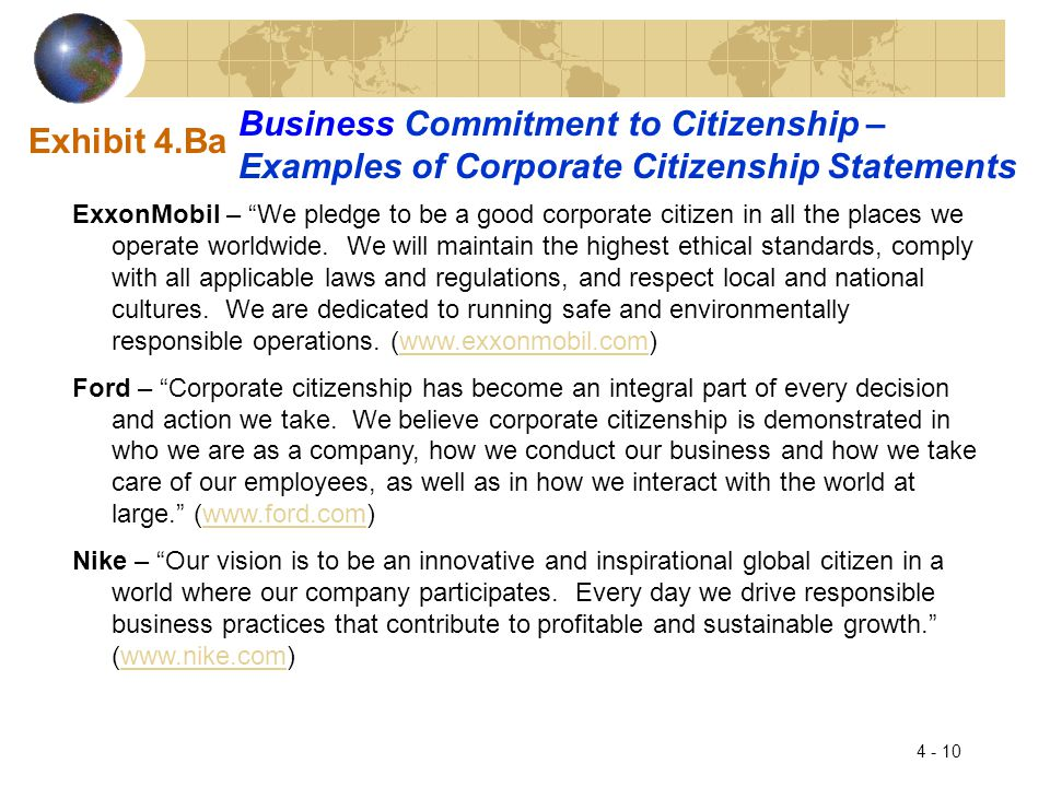 Business Commitment to Citizenship –