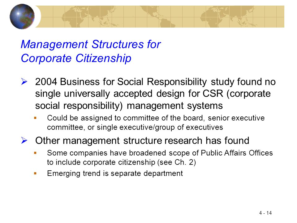 Management Structures for Corporate Citizenship