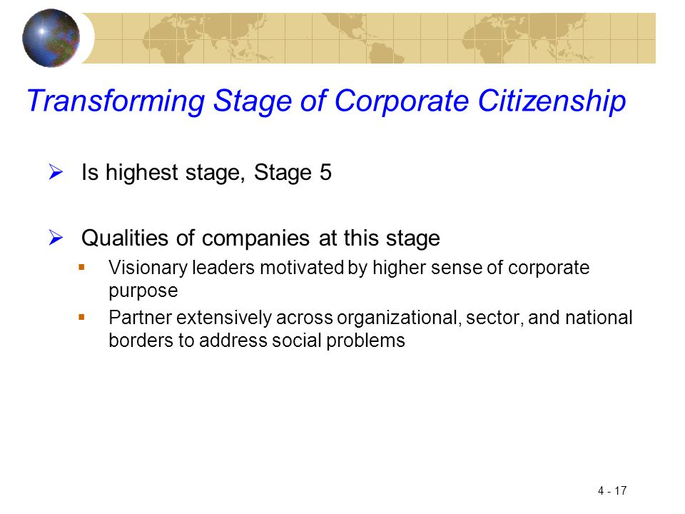 Transforming Stage of Corporate Citizenship