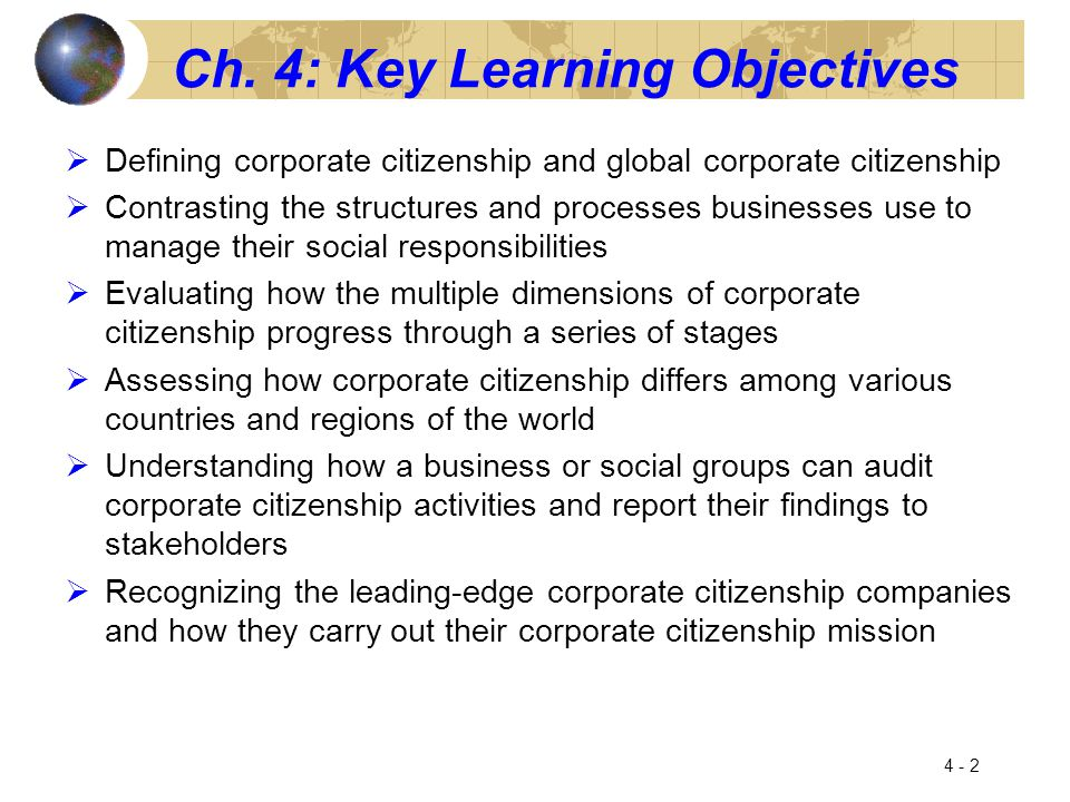 Ch. 4: Key Learning Objectives