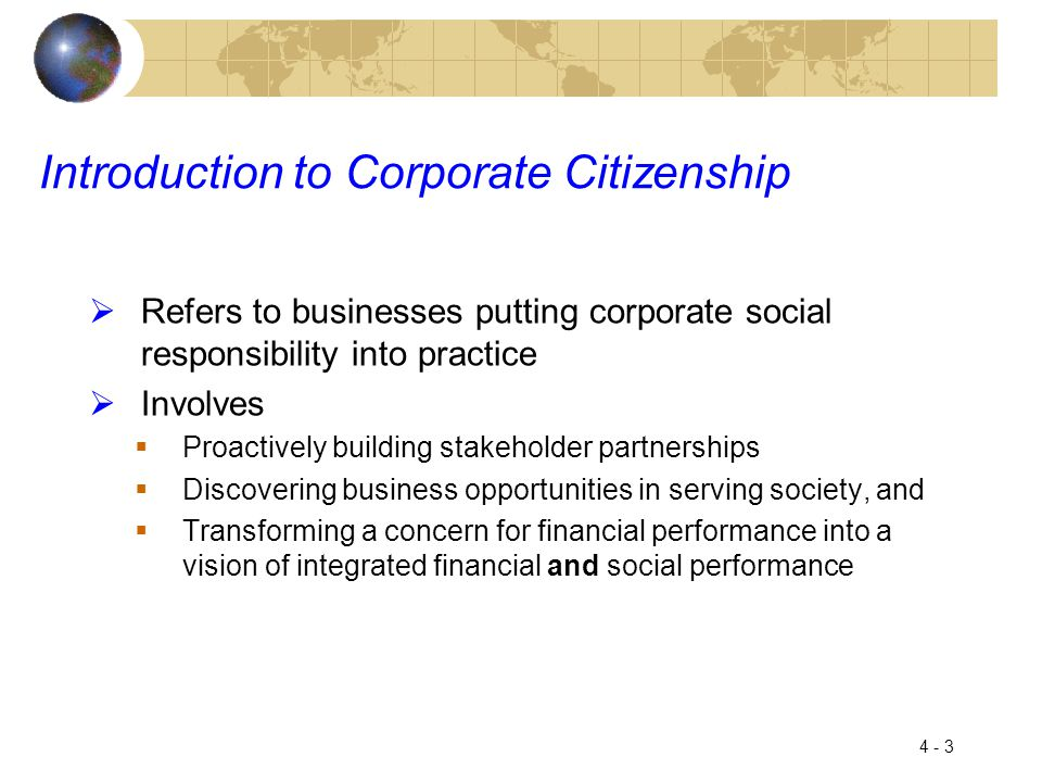 Introduction to Corporate Citizenship