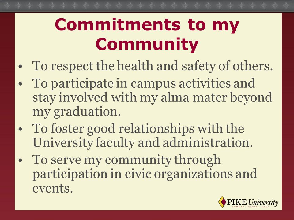 Commitments to my Community