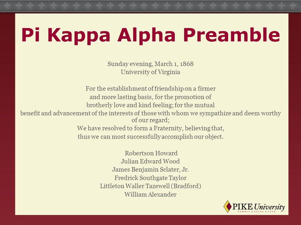 Pi Kappa Alpha Preamble