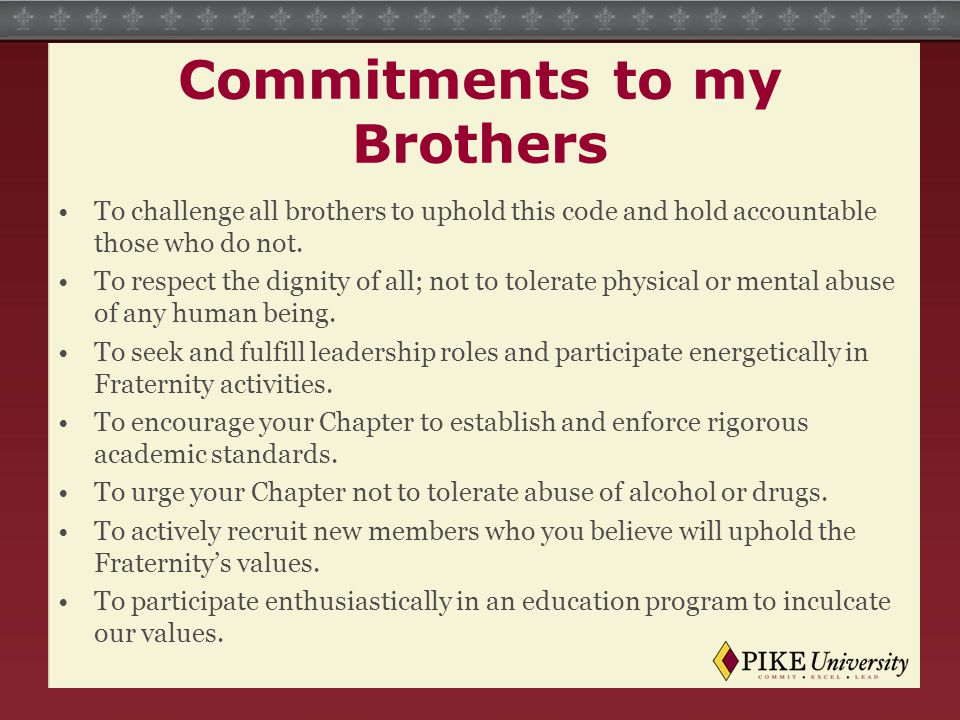 Commitments to my Brothers