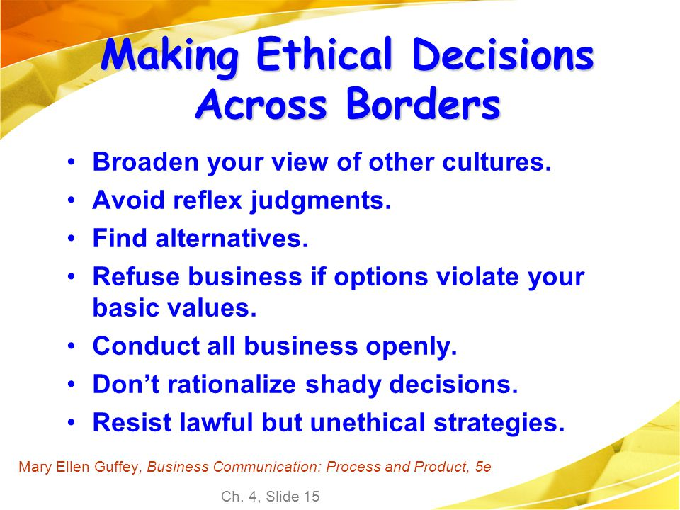 Making Ethical Decisions Across Borders