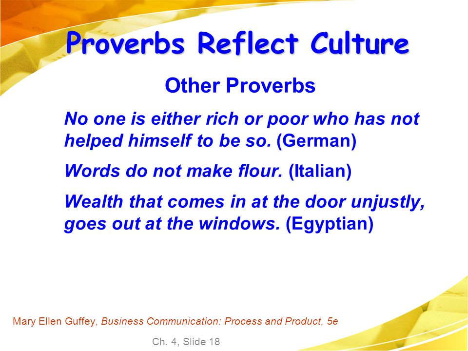 Proverbs Reflect Culture