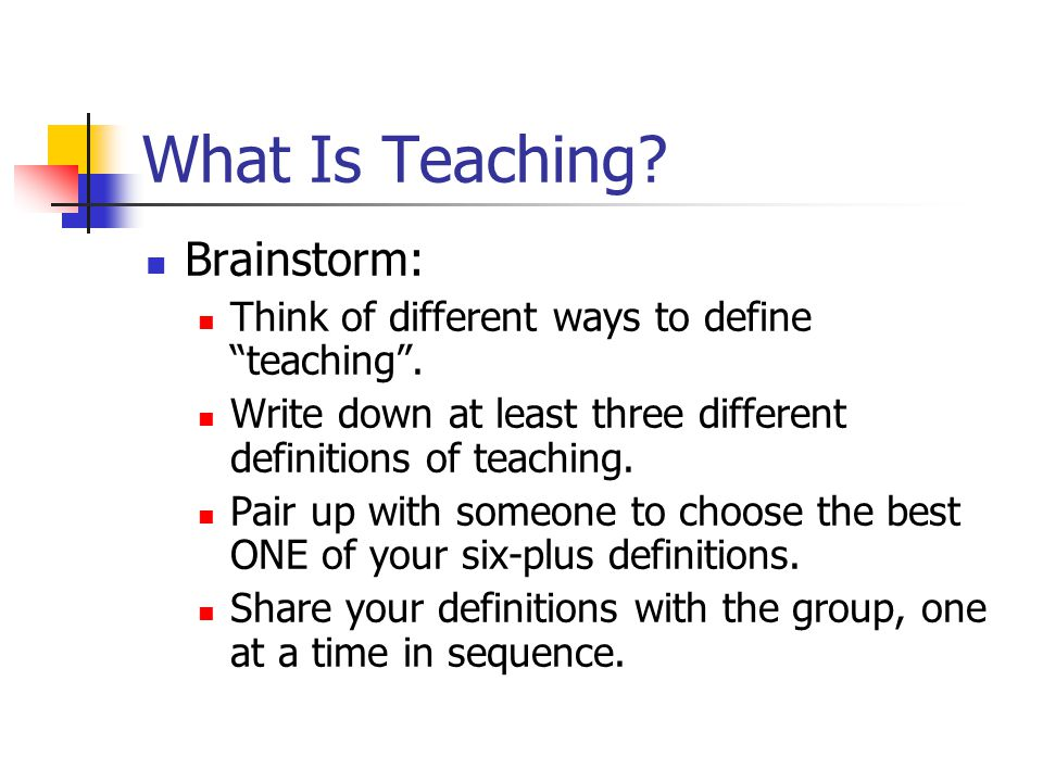 What Is Teaching Brainstorm: