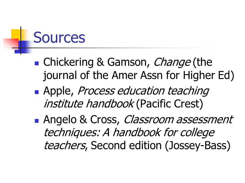 Sources Chickering & Gamson, Change (the journal of the Amer Assn for Higher Ed)