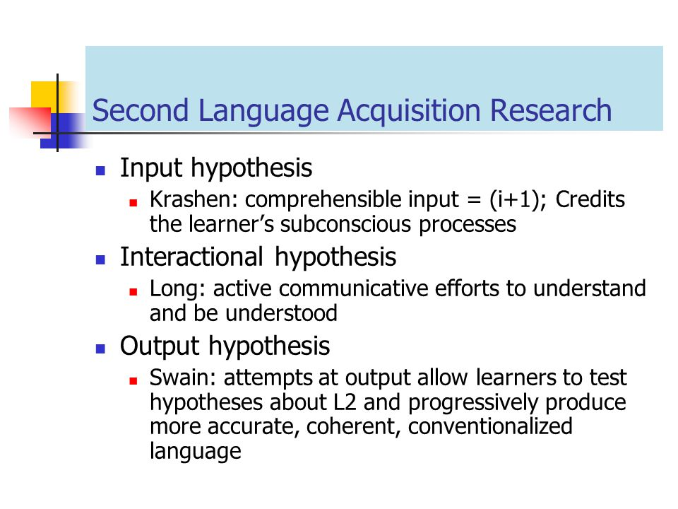 Second Language Acquisition Research
