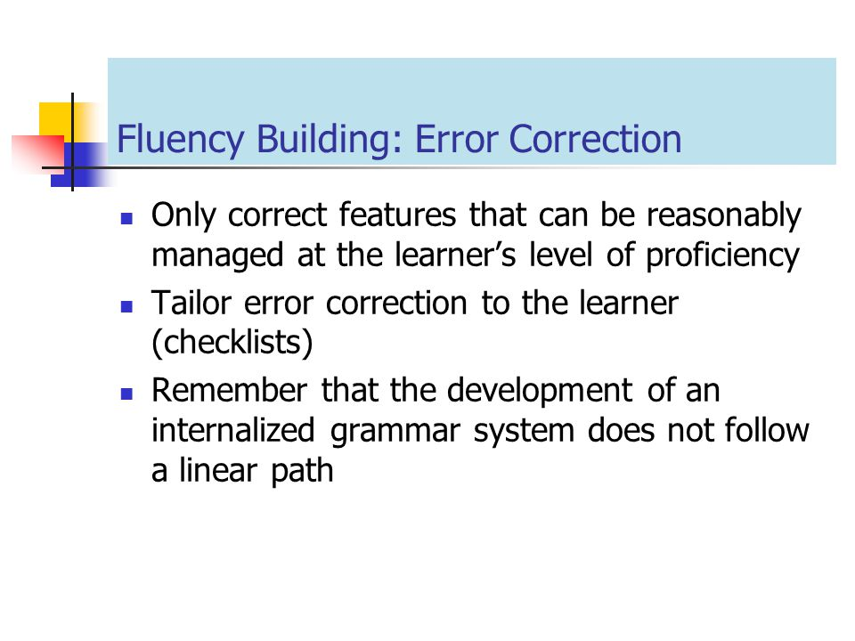 Fluency Building: Error Correction