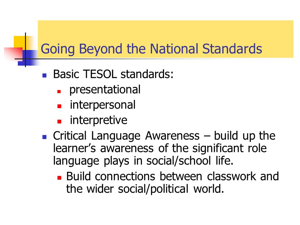 Going Beyond the National Standards