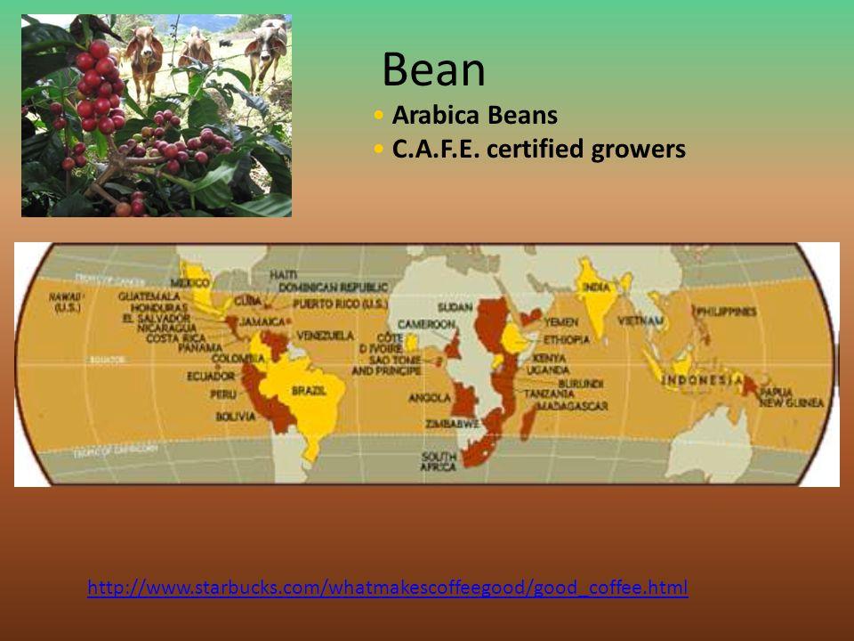 Bean Arabica Beans C.A.F.E. certified growers