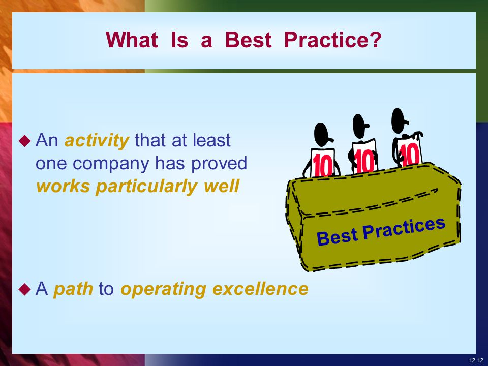 What Is a Best Practice An activity that at least one company has proved works particularly well.