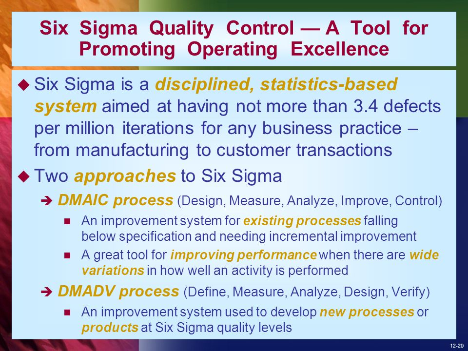 Six Sigma Quality Control — A Tool for Promoting Operating Excellence