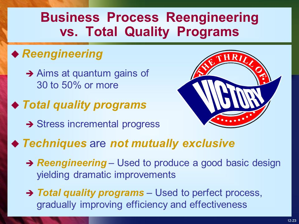 Business Process Reengineering vs. Total Quality Programs
