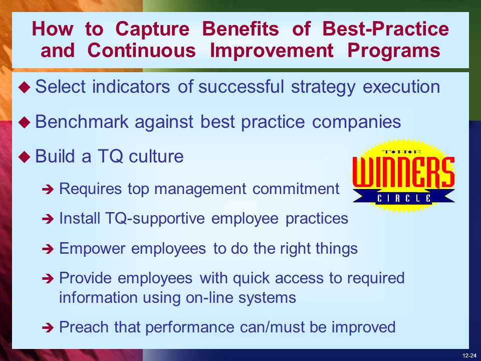 How to Capture Benefits of Best-Practice and Continuous Improvement Programs
