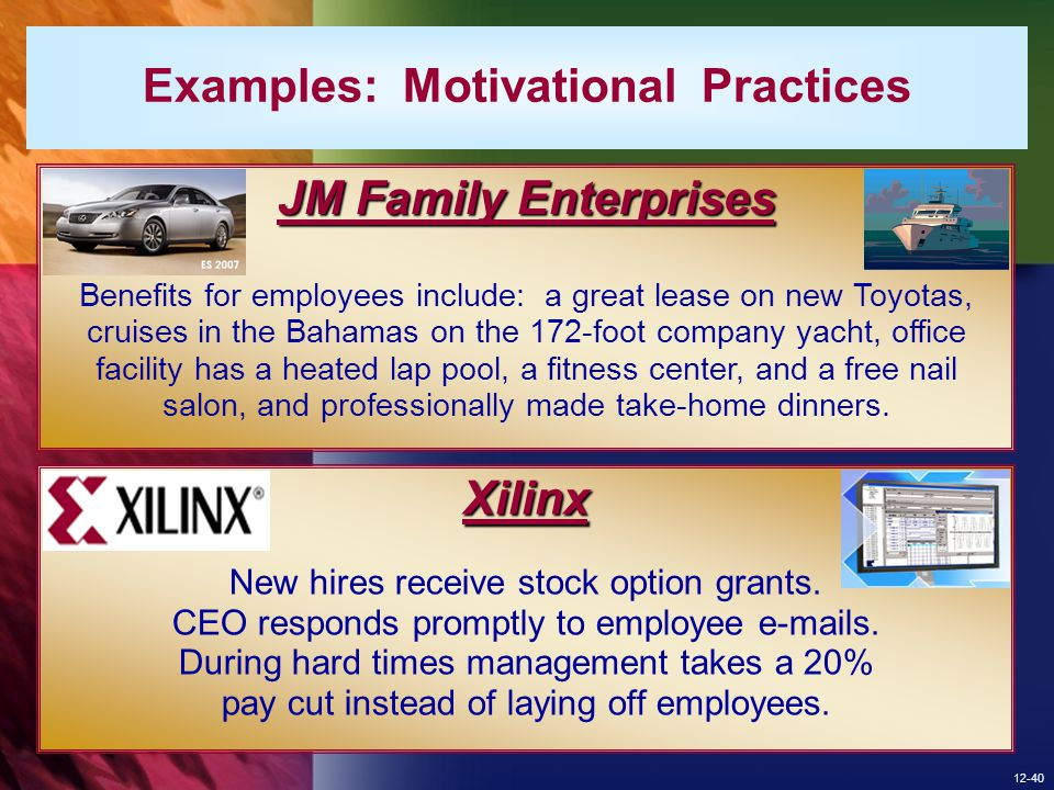 Examples: Motivational Practices