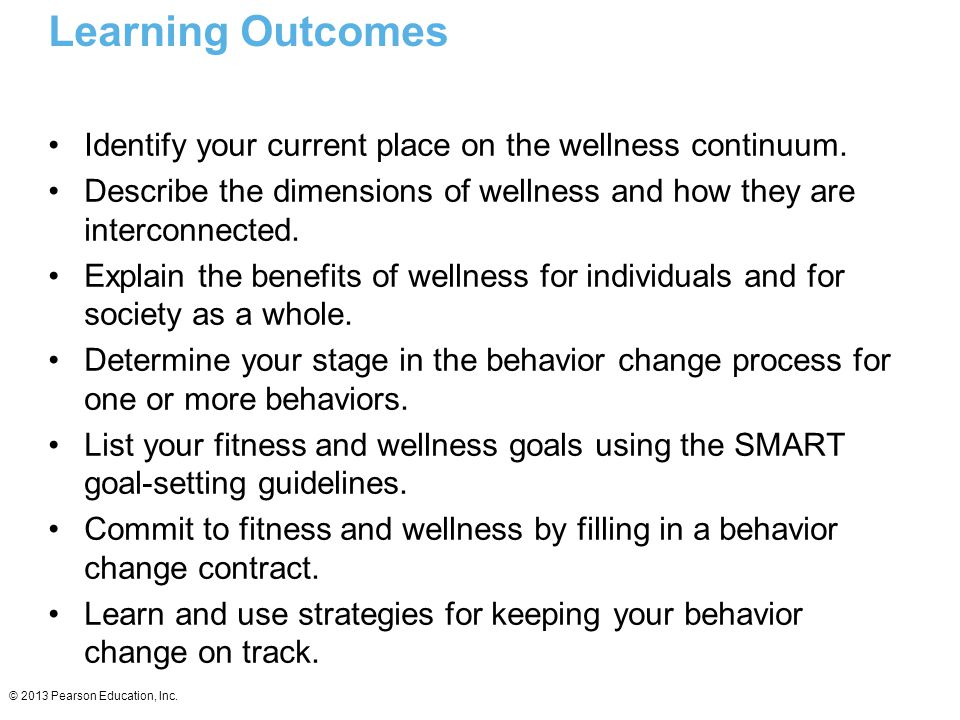 Learning Outcomes Identify your current place on the wellness continuum. Describe the dimensions of wellness and how they are interconnected.