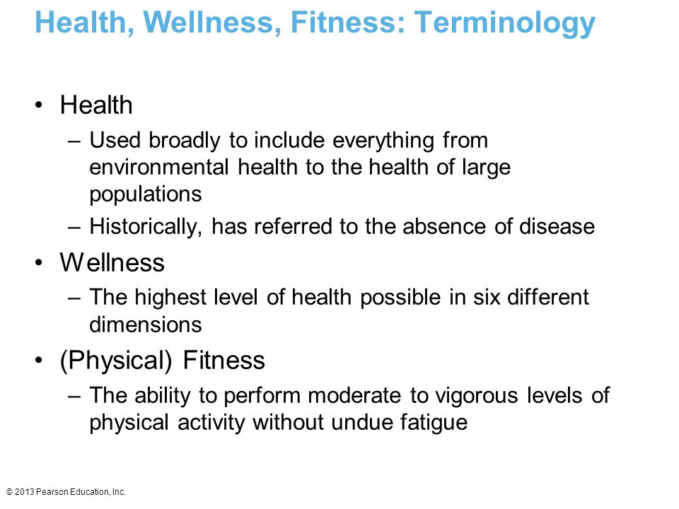 Health, Wellness, Fitness: Terminology