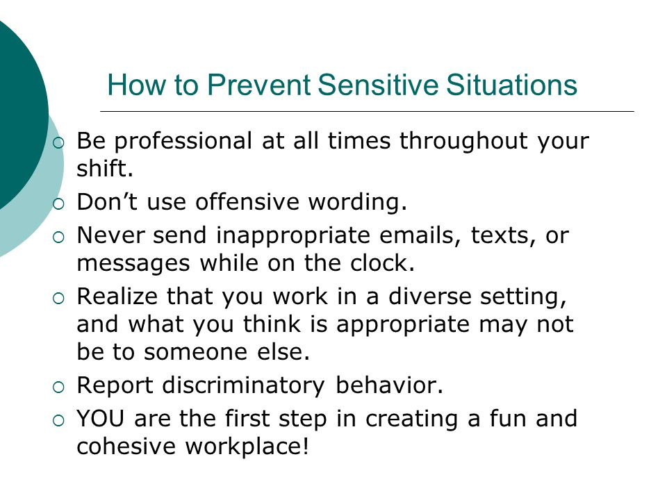 How to Prevent Sensitive Situations