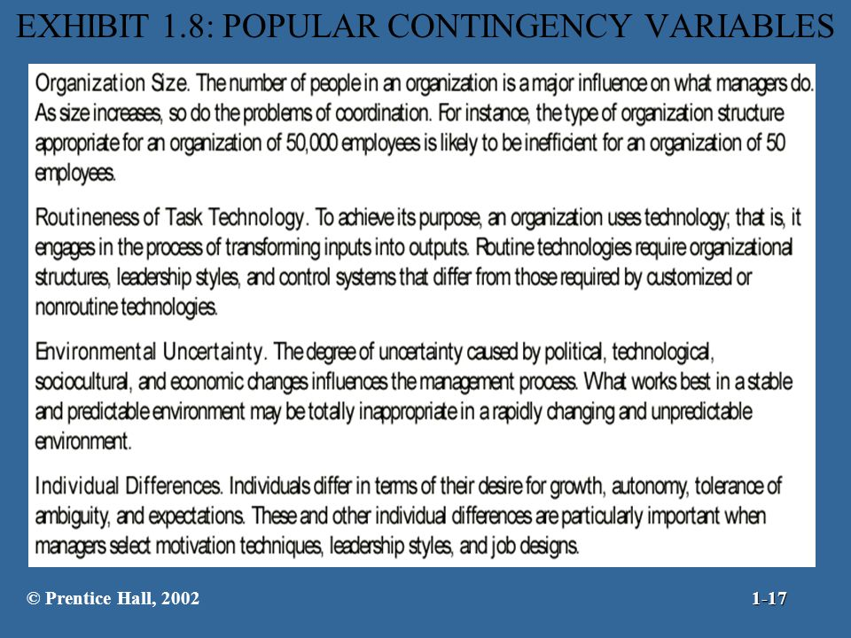 matching contingency variables and organizational structure