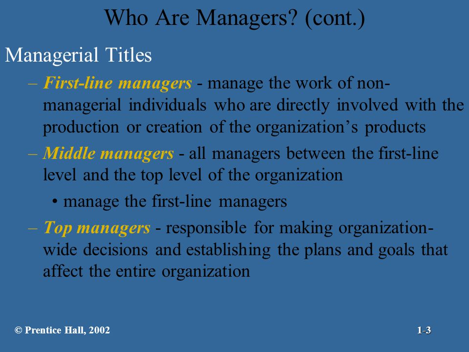 Who Are Managers (cont.)