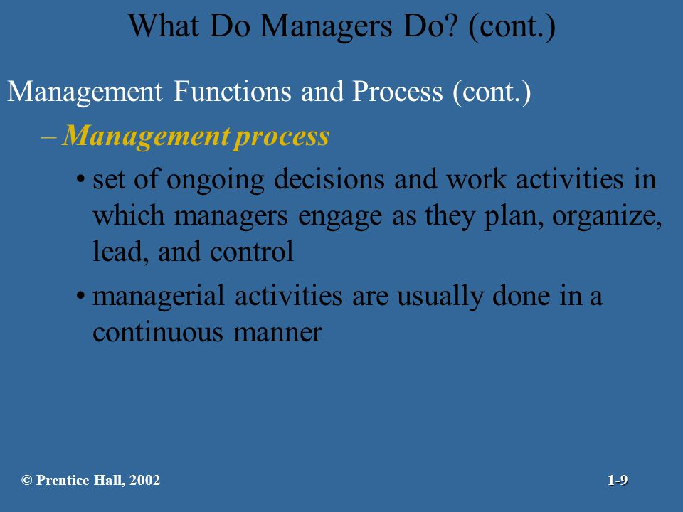 What Do Managers Do (cont.)