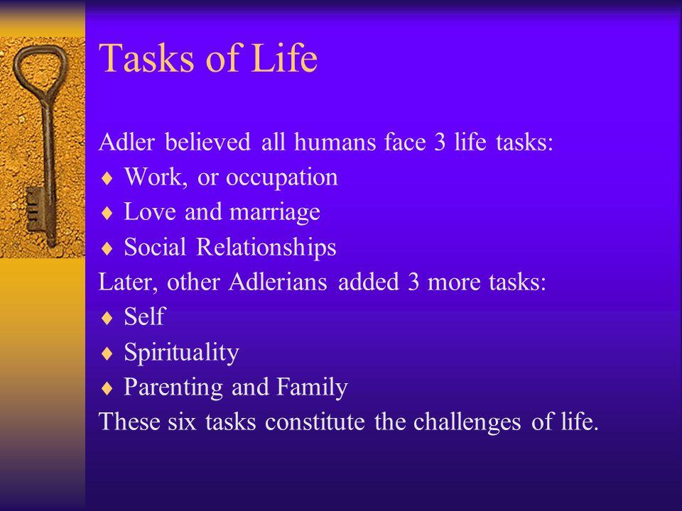 Tasks of Life Adler believed all humans face 3 life tasks: