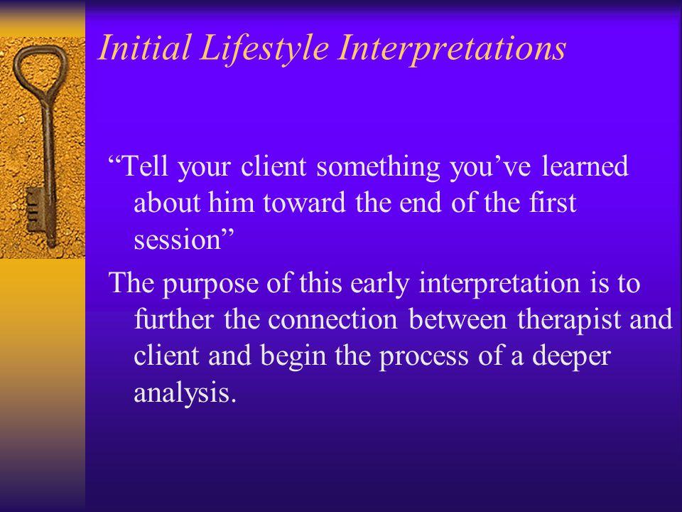 Initial Lifestyle Interpretations