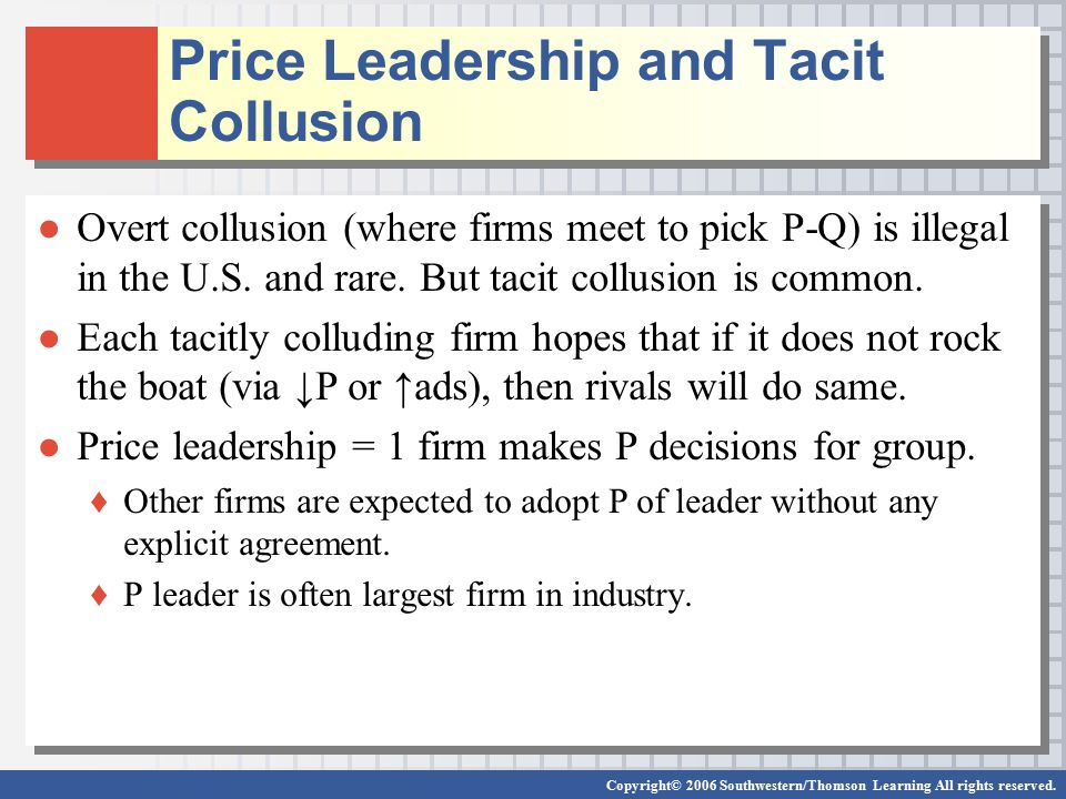 Price Leadership and Tacit Collusion