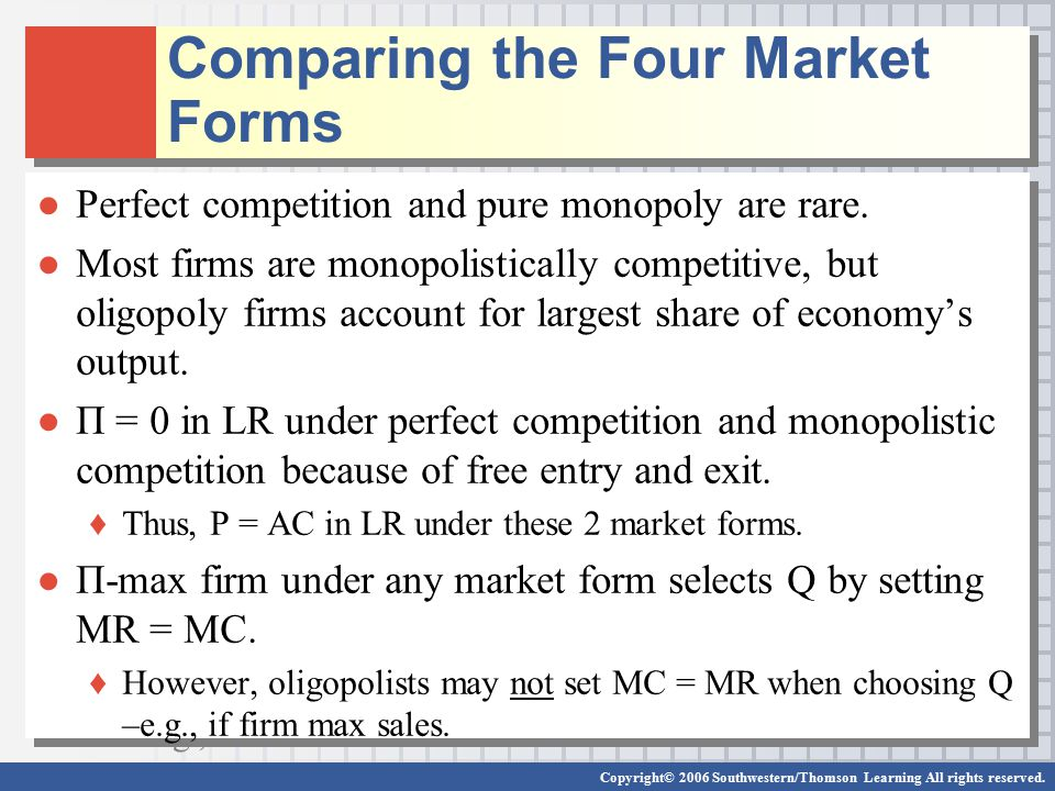 Comparing the Four Market Forms