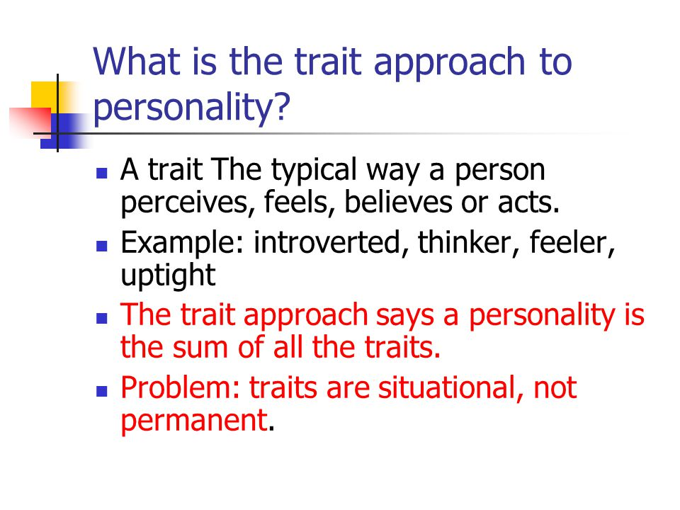 What is the trait approach to personality