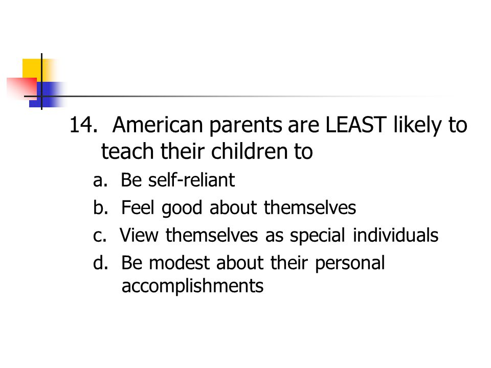 14. American parents are LEAST likely to teach their children to