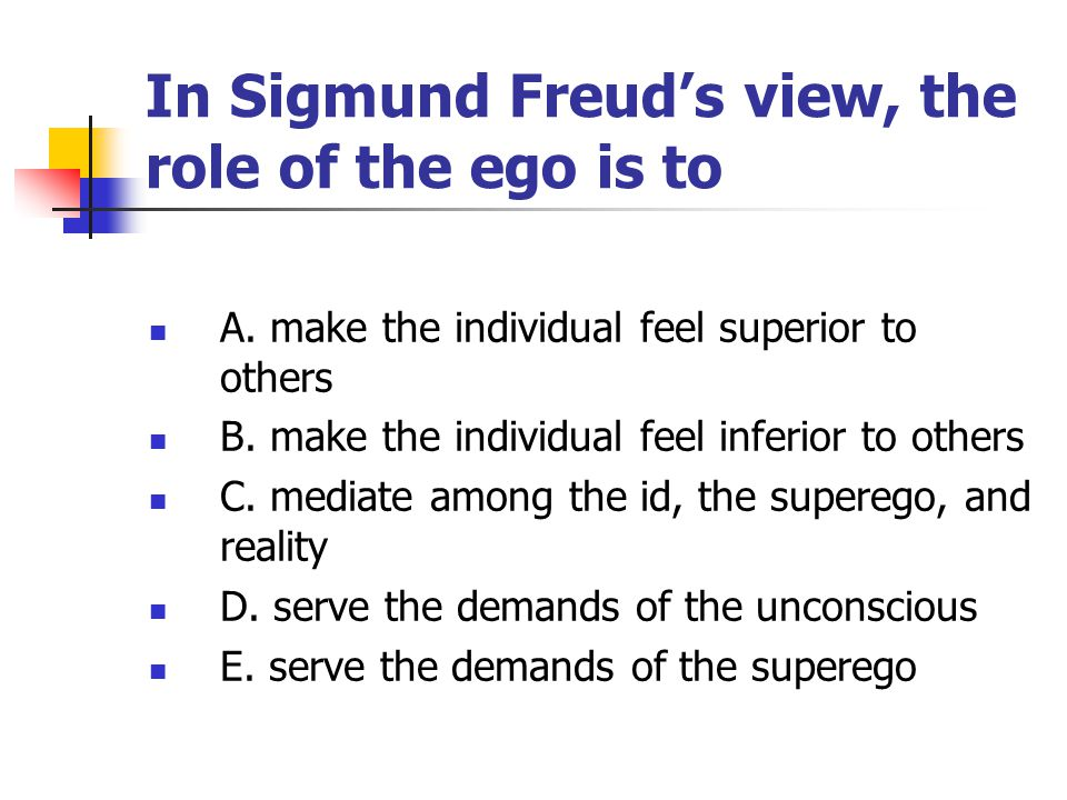 In Sigmund Freud's view, the role of the ego is to