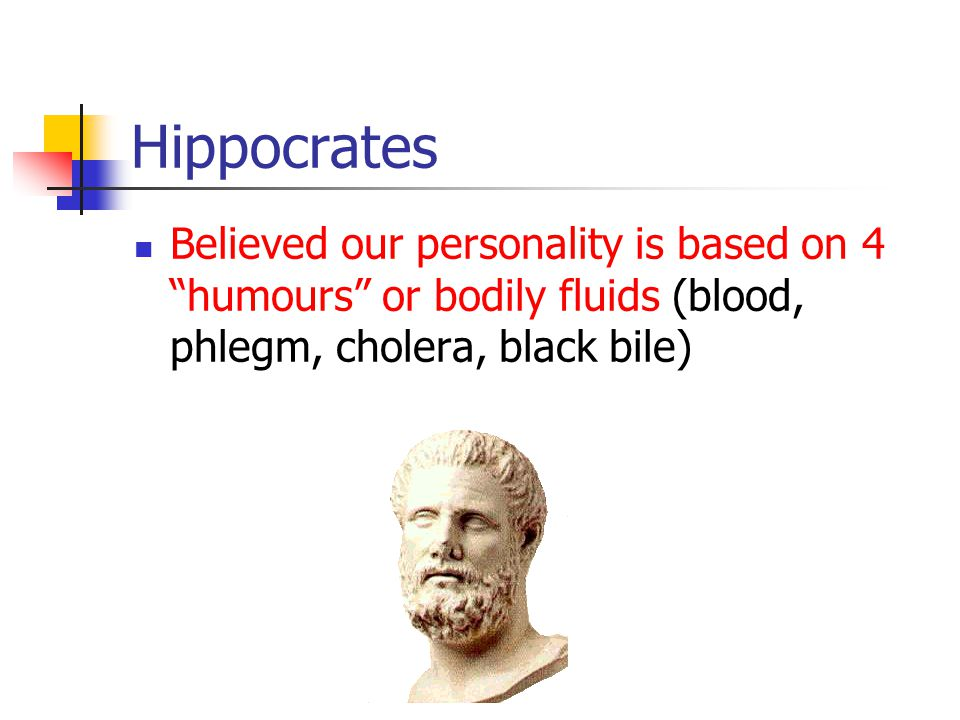 Hippocrates Believed our personality is based on 4 humours or bodily fluids (blood, phlegm, cholera, black bile)