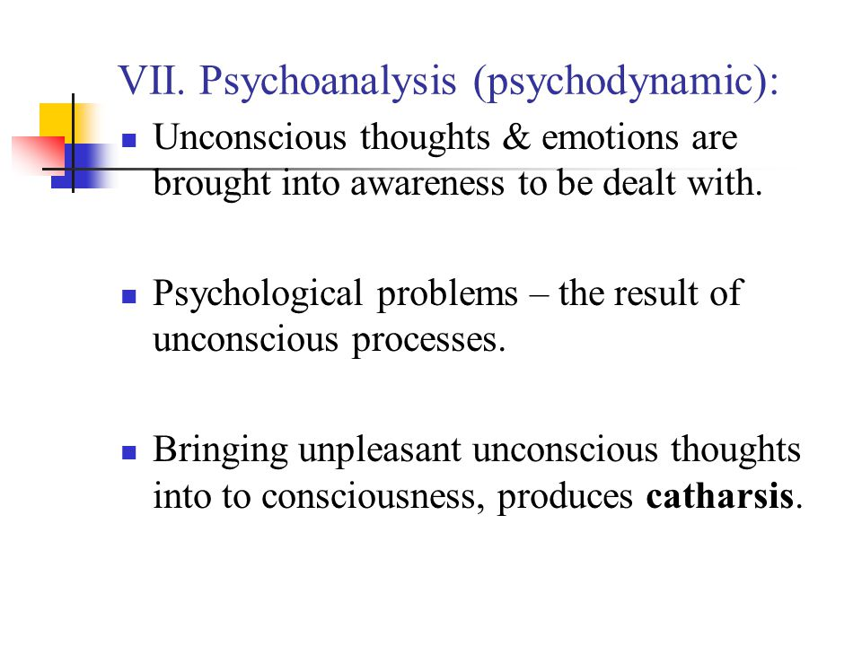 VII. Psychoanalysis (psychodynamic):