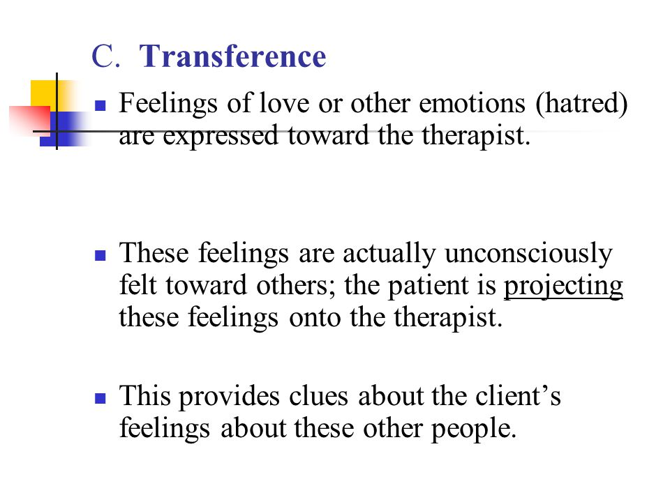 C. Transference Feelings of love or other emotions (hatred) are expressed toward the therapist.